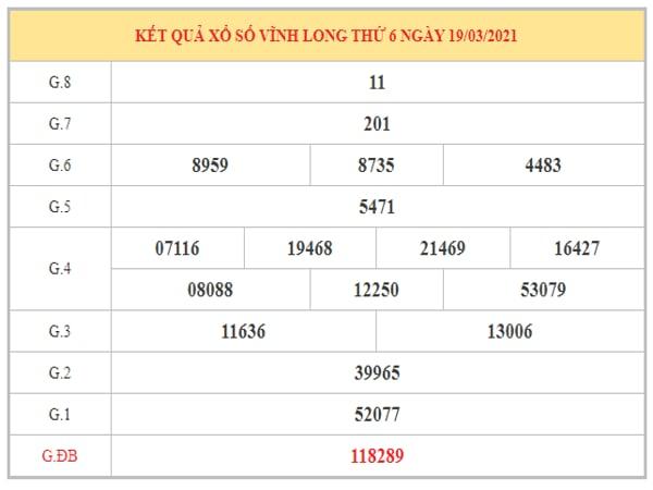 Thống kê KQXSVL ngày 26/3/2021 dựa trên kết quả kì trước